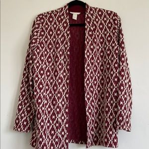 H&M burgundy and cream tribal pattern jacket